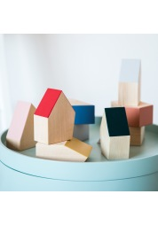 A set of wooden toy houses NORDIC WOODEN HOUSES